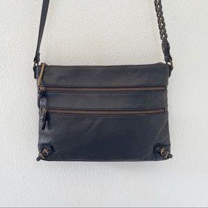 Elliott Lucca leather crossbody bag black retro